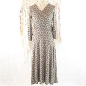 Boden 3/4 Sleeve faux wrap dot print dress